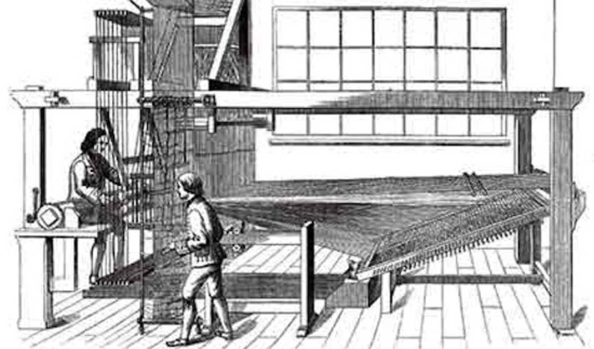 A pre-mechanization draw loom. Note the draw-boy awaiting instructions from the master weaver. (Public domain illustration)