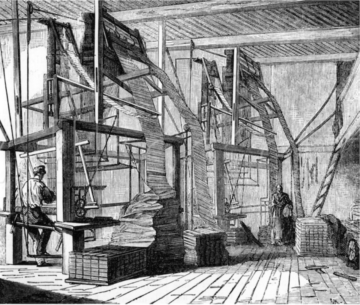 Silk weavers using a Jacquard Loom. The mechanism with the rows of hole punched cards that sits on top of the loom is Jacquard's ingenious invention. 19th Century Engraving in the Public Domain. From The Bridgeman Art Library collection.