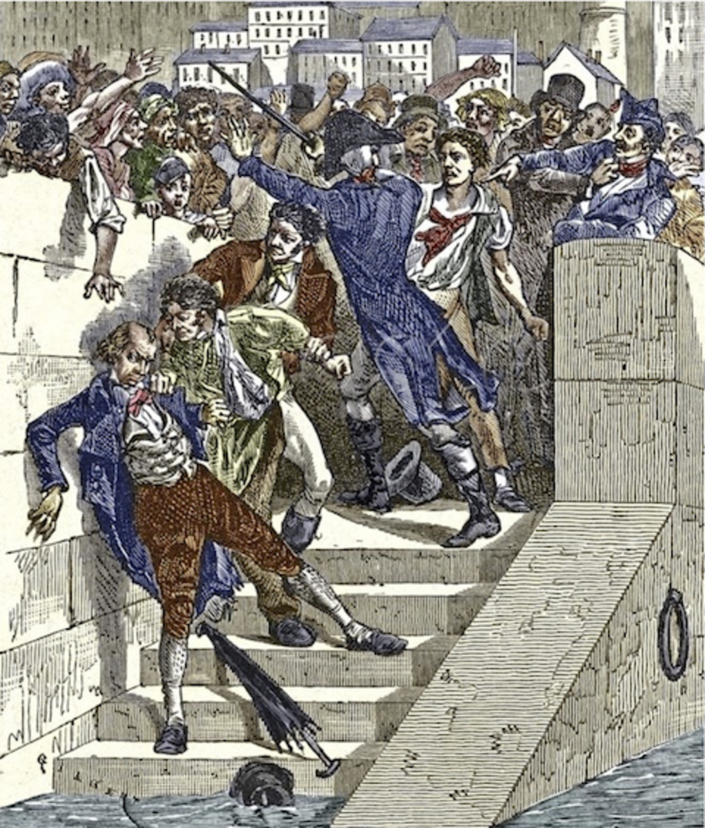 Mob Attacking Jacquard in Lyon, France. Artwork from Les Martyrs de la Science  (G. Tissandier, 1882)
