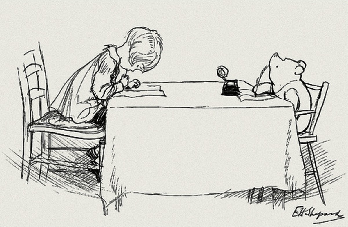 Christopher Robin and Winnie the Pooh by the books' original illustrator, E. H. Shepard