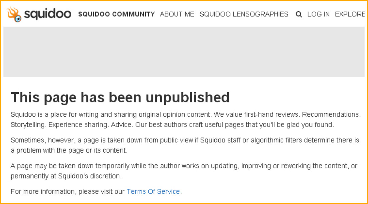 Locked Squidoo Article URLs Were Redirected to This Notice