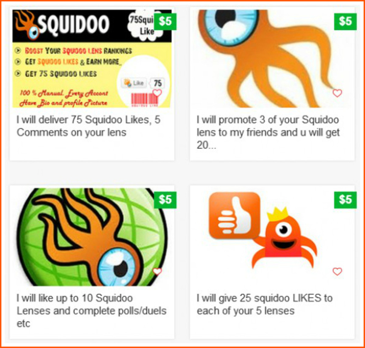 Ads Selling Squidoo Likes on Fiverr.com