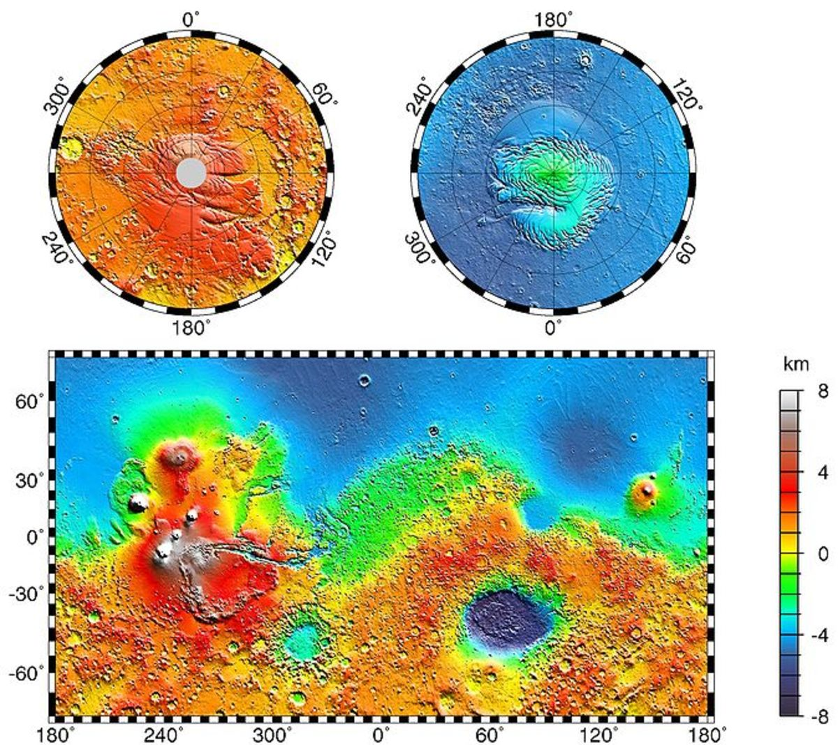 Typographical map of Mars.