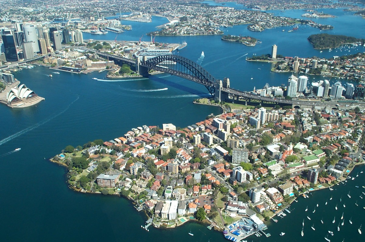 An image of the beautiful Sydney Harbour Bridge. It is located in Sydney, Australia's most populated and busy city.
