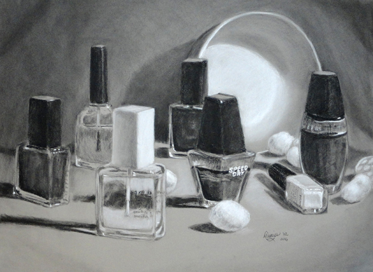 Arrangement of Nail Polish; charcoal on paper.