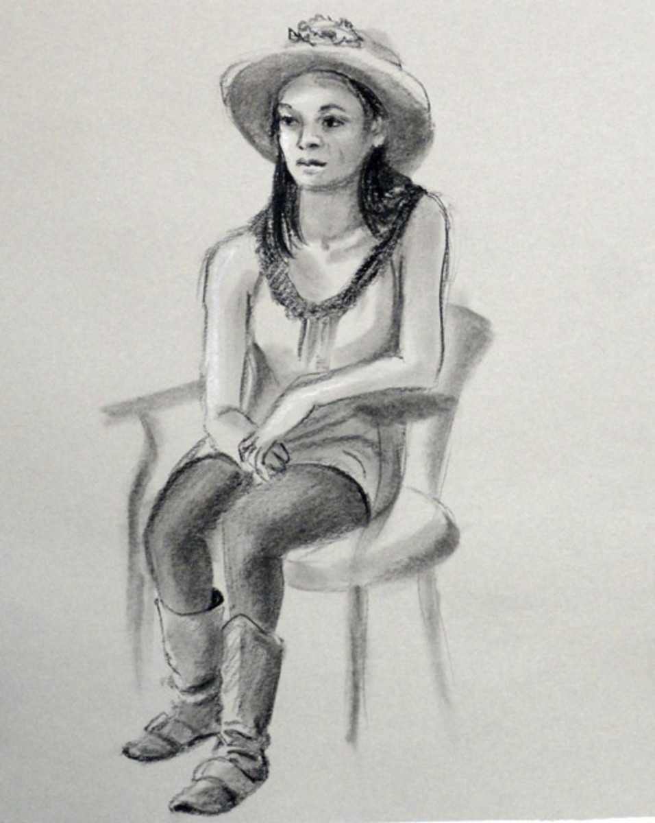 Drawing of Suzy model, charcoal on grey paper.