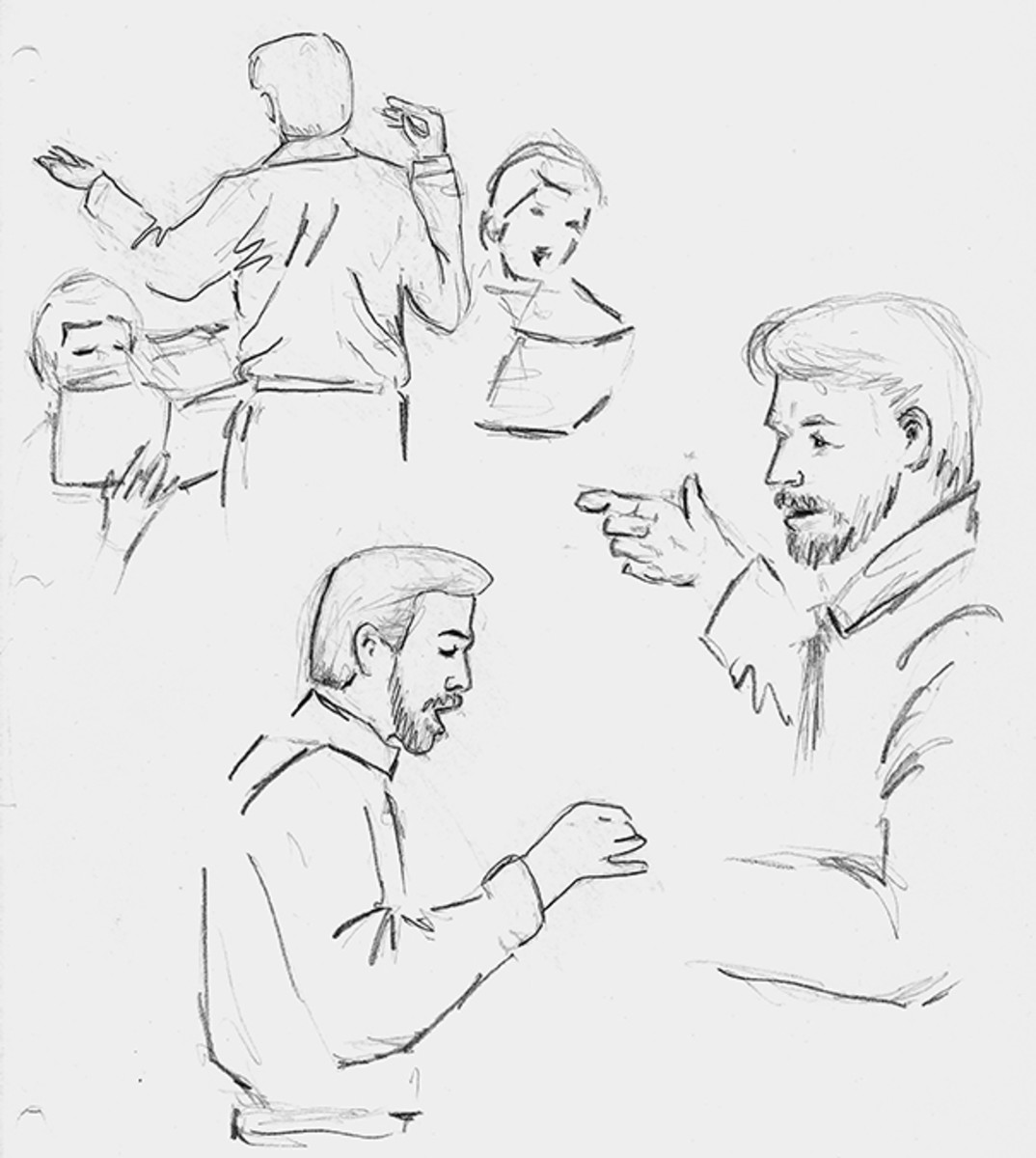 The choir director.  Pencil on sketch pad paper.
