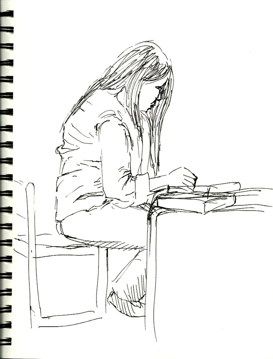 Drawing done in a library of unsuspecting model.
