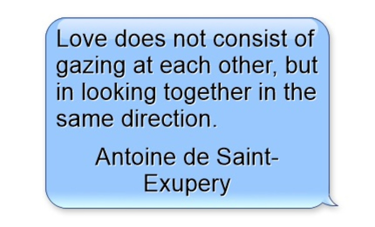 """""""Love does not consist of gazing at each other, but in looking together in the same direction."""" ~ Antoine de Saint-Exupery"""