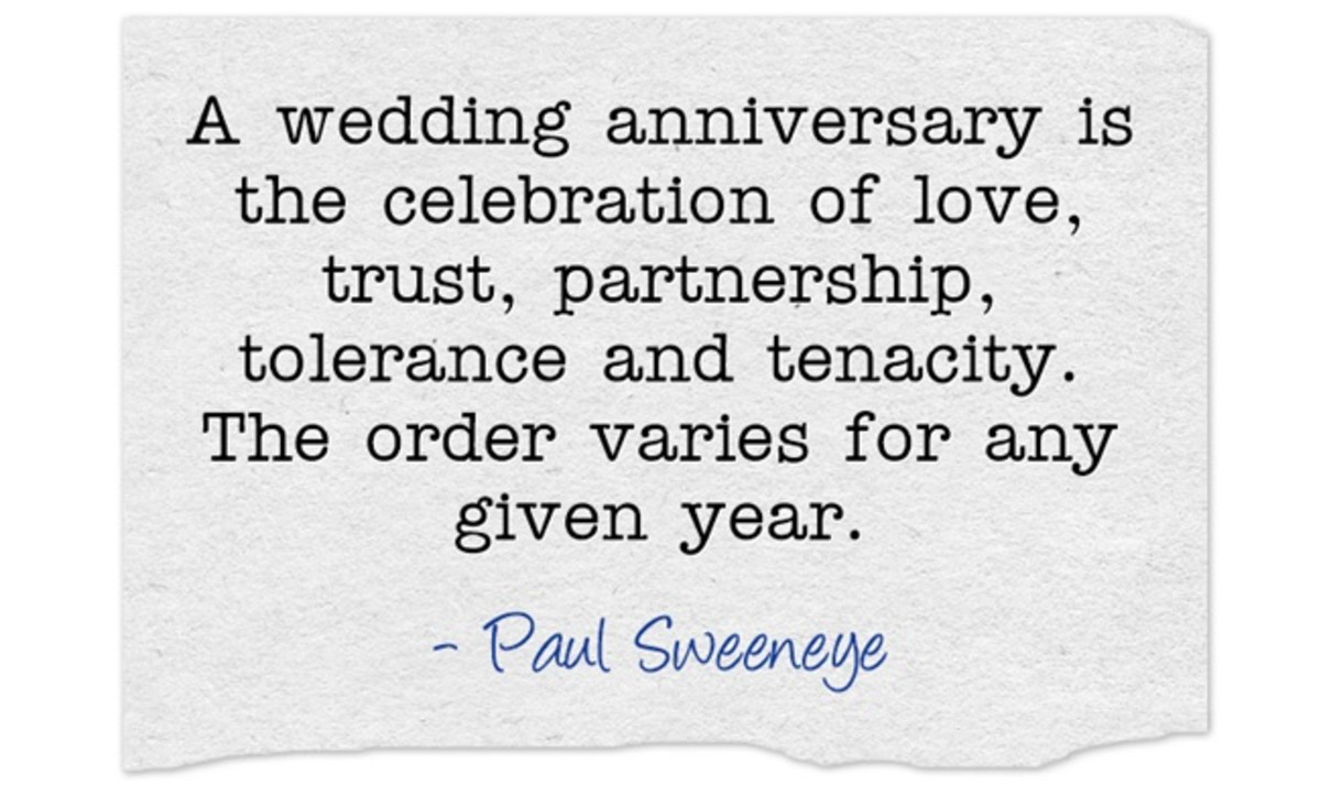 """A wedding anniversary is the celebration of love, trust, partnership, tolerance and tenacity. The order varies for any given year."" ~ Paul Sweeneye"