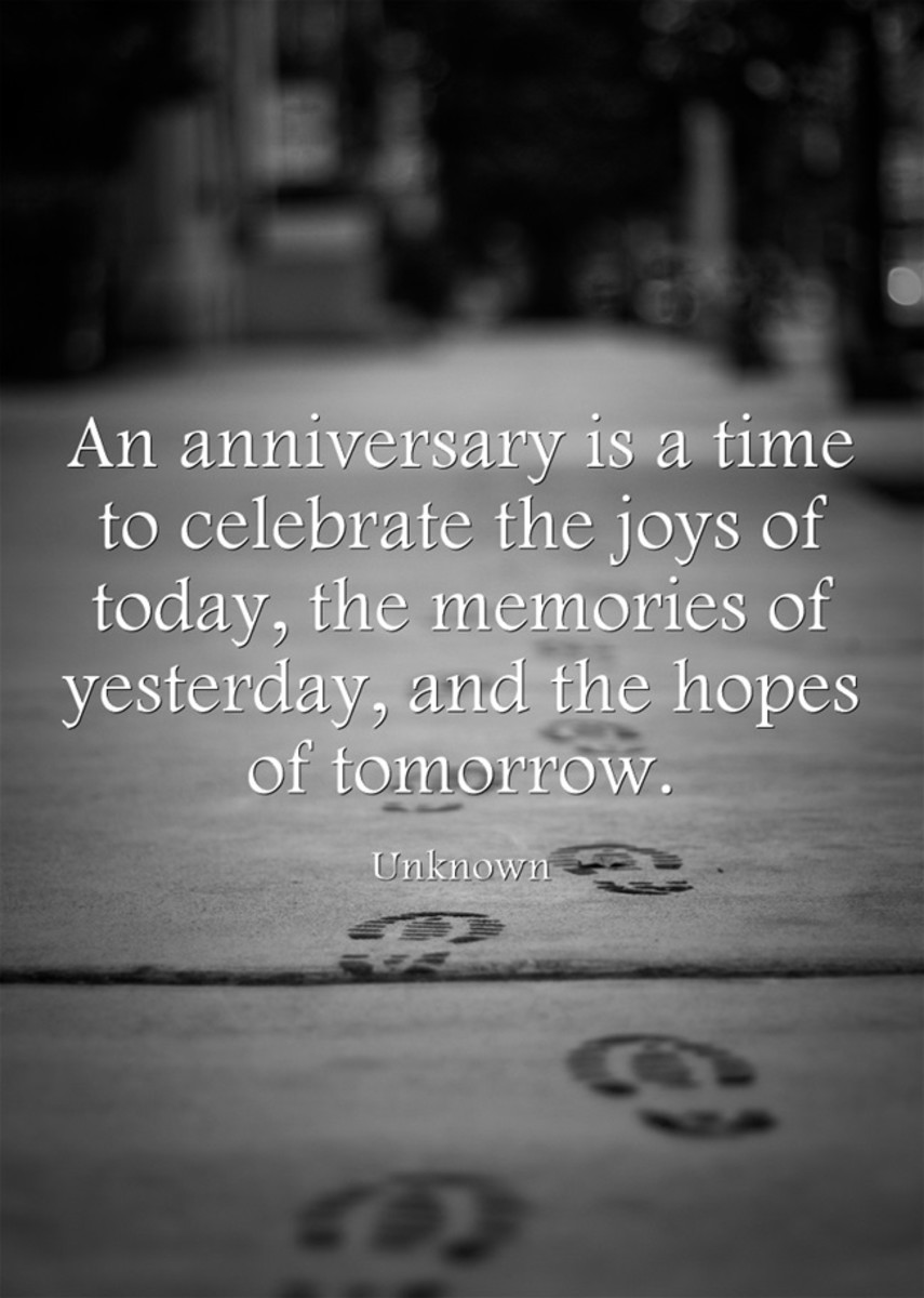 """An anniversary is a time to celebrate the joys of today, the memories of yesterday, and the hopes of tomorrow."" ~ Unknown"