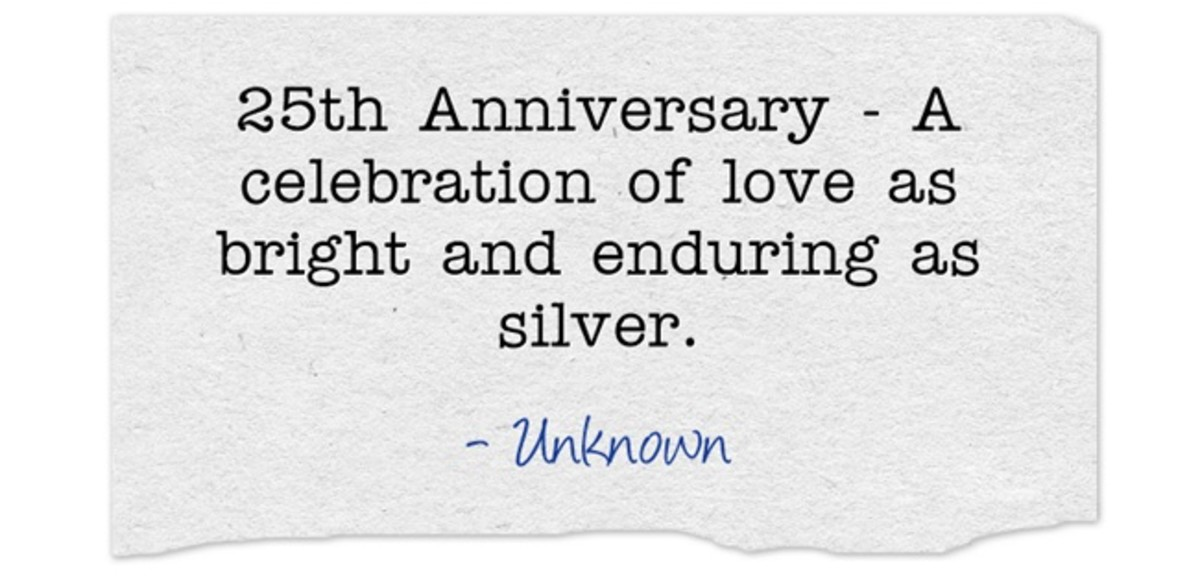 """25th Anniversary - A celebration of love as bright and enduring as silver."" ~ Unknown"