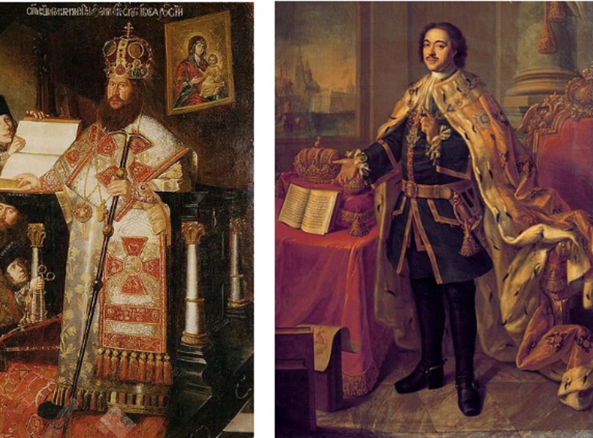 Patriarch Nikon (born Nikita Minin) Public Domain and Peter the Great  from Wikimedia Commons
