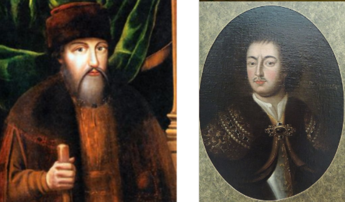 The only picture of Tikhon Streshnev at Wkipedia.ru and one of many of Peter the Great photographed by Shakko from: Wikimedia Commons. The pictures are done in the style of a parsuna, before the more realistic portraits. It is a bit difficult to know