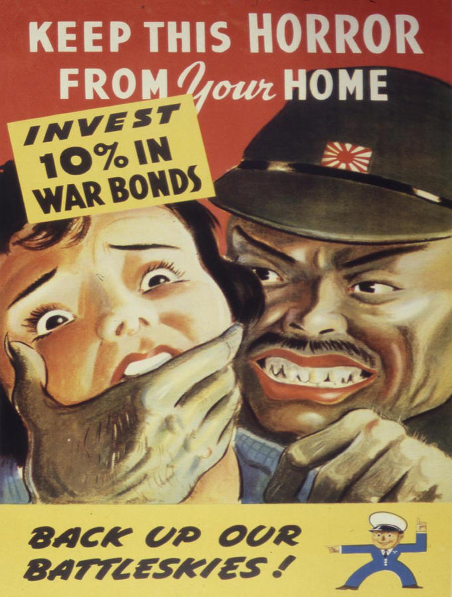 World War 2 Propaganda Poster, depicting a Japanese man as a dangerous lurid deviant. Grotesque.