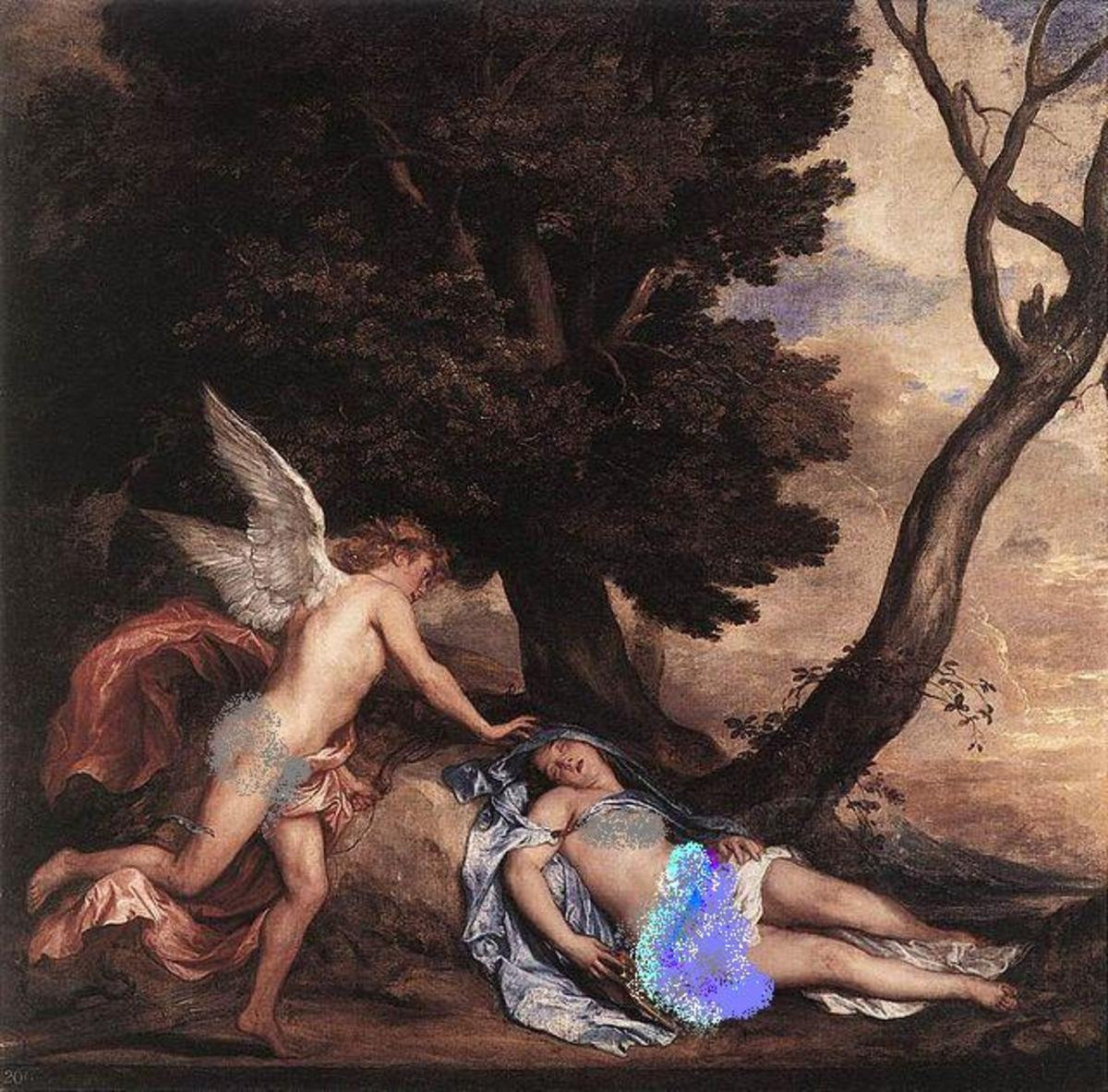 Cupid and Psyche (1639–40) by Anthony van Dyck: Cupid finds the sleeping Psyche