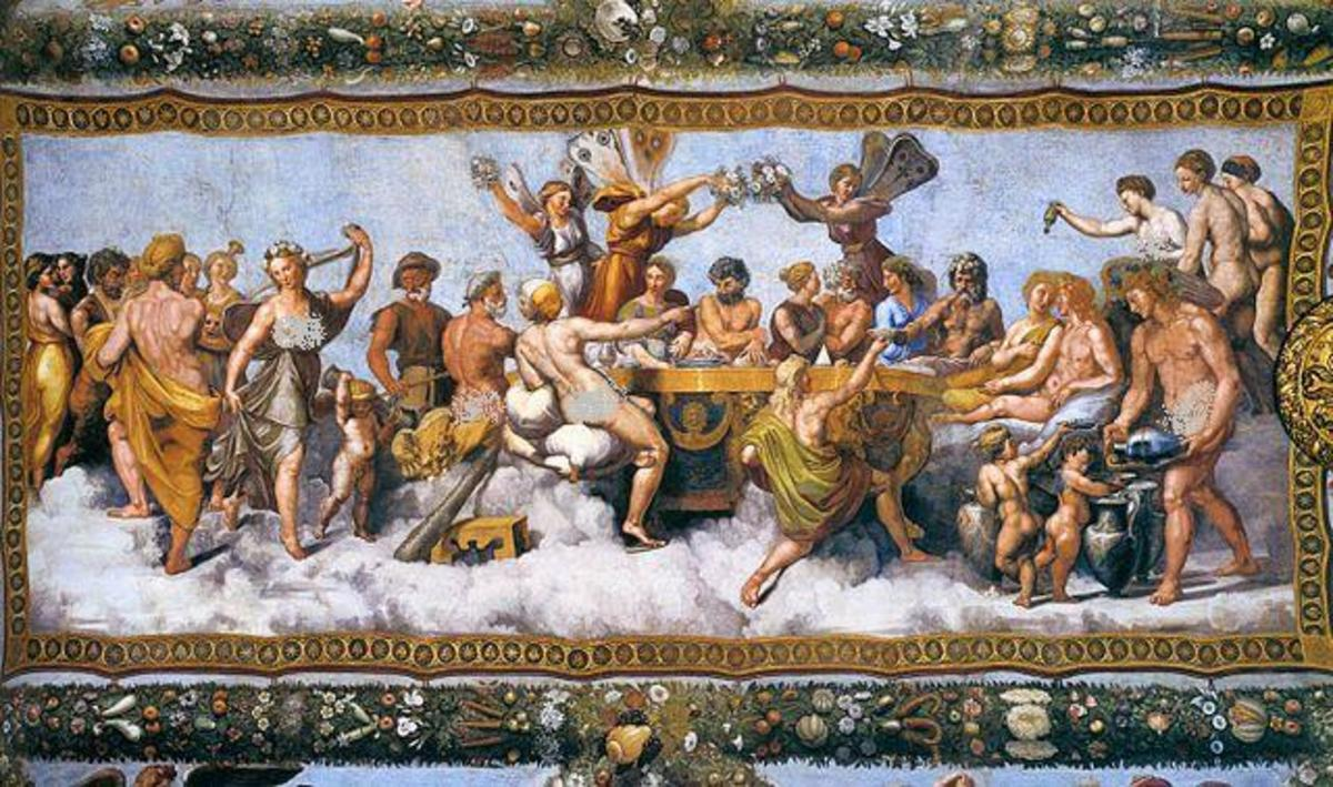The Wedding Banquet of Cupid and Psyche (1517) by Raphael and his workshop, from the Loggia di Psiche (it), Villa Farnesina