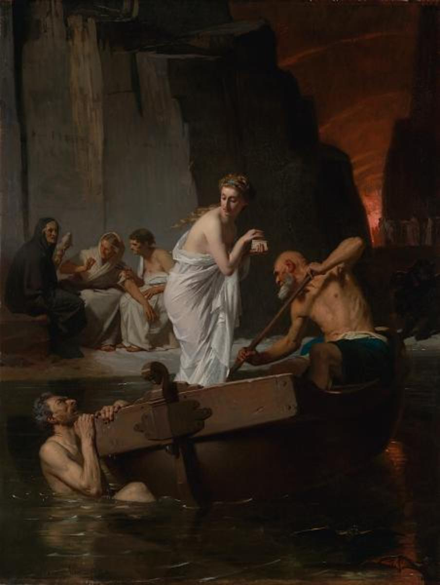 Psyché aux enfers (1865) by Eugène Ernest Hillemacher: Charon rows Psyche past a dead man in the water and the old weavers on shore
