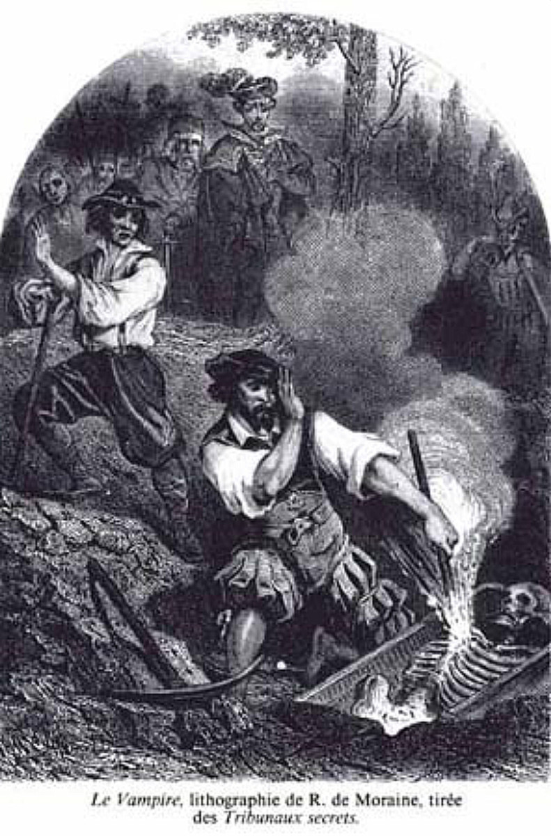 Le Vampire, lithograph by R. de Moraine (1864)