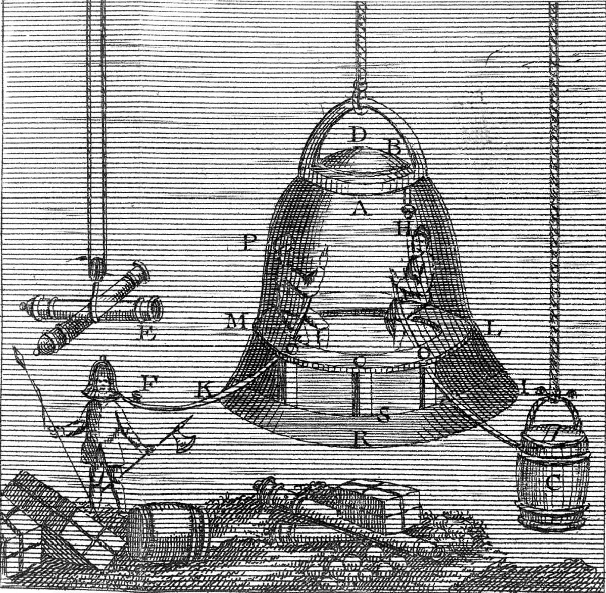 Illustration of Halley's diving bell