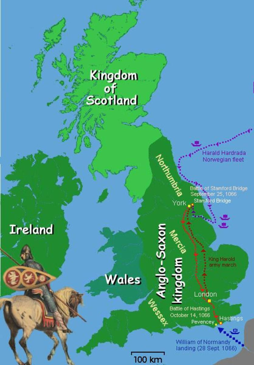 Map of the Battle of Hastings, 1066.