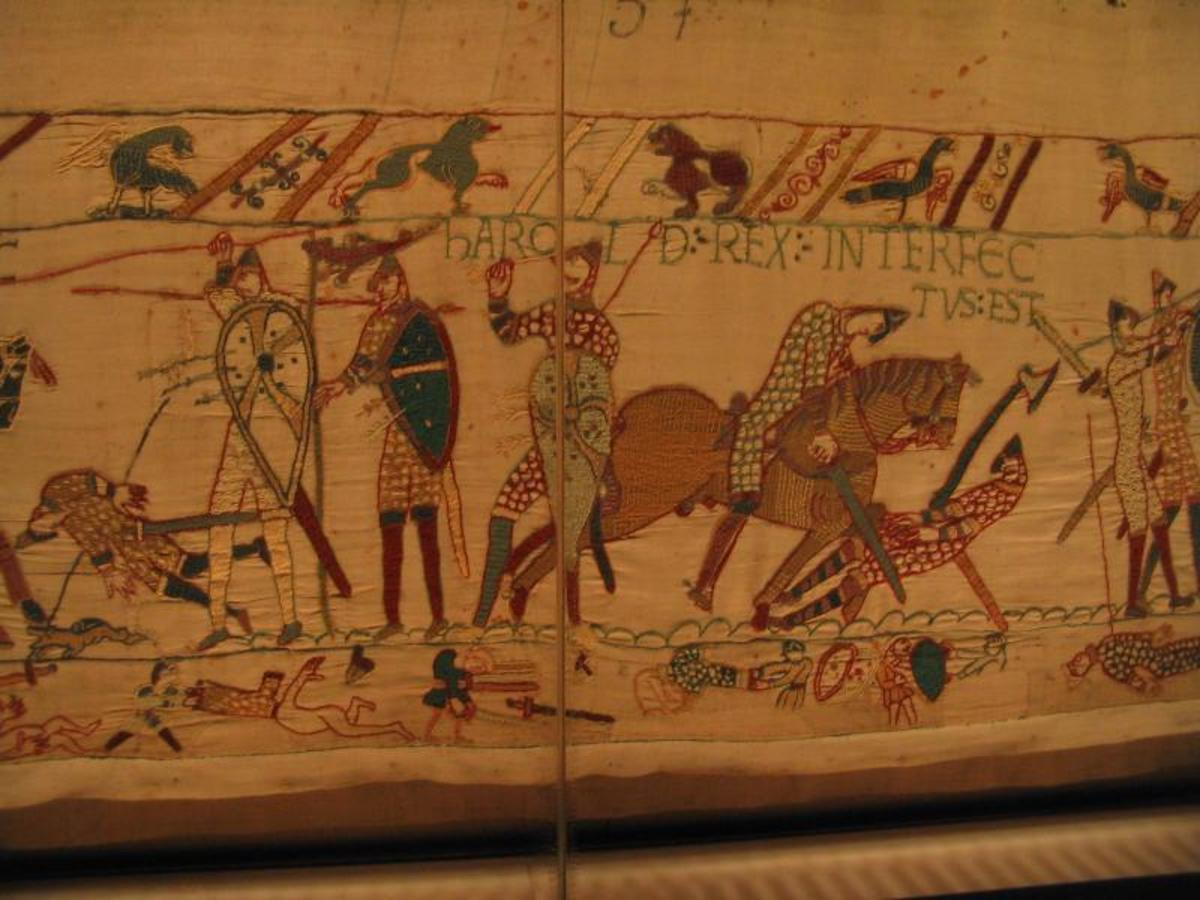 Bayeux Tapestry depicts scenes from the 1066 Battle of Hastings and the start of the Norman Conquest in England.