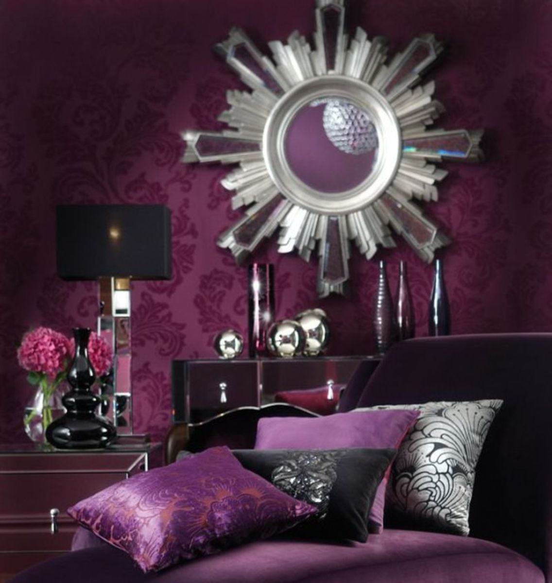 Royal purple mirrored bedroom design