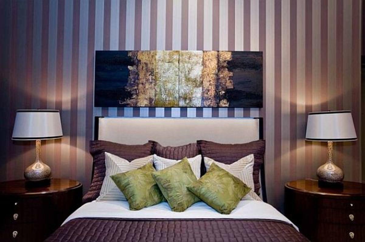 Purple striped bedroom