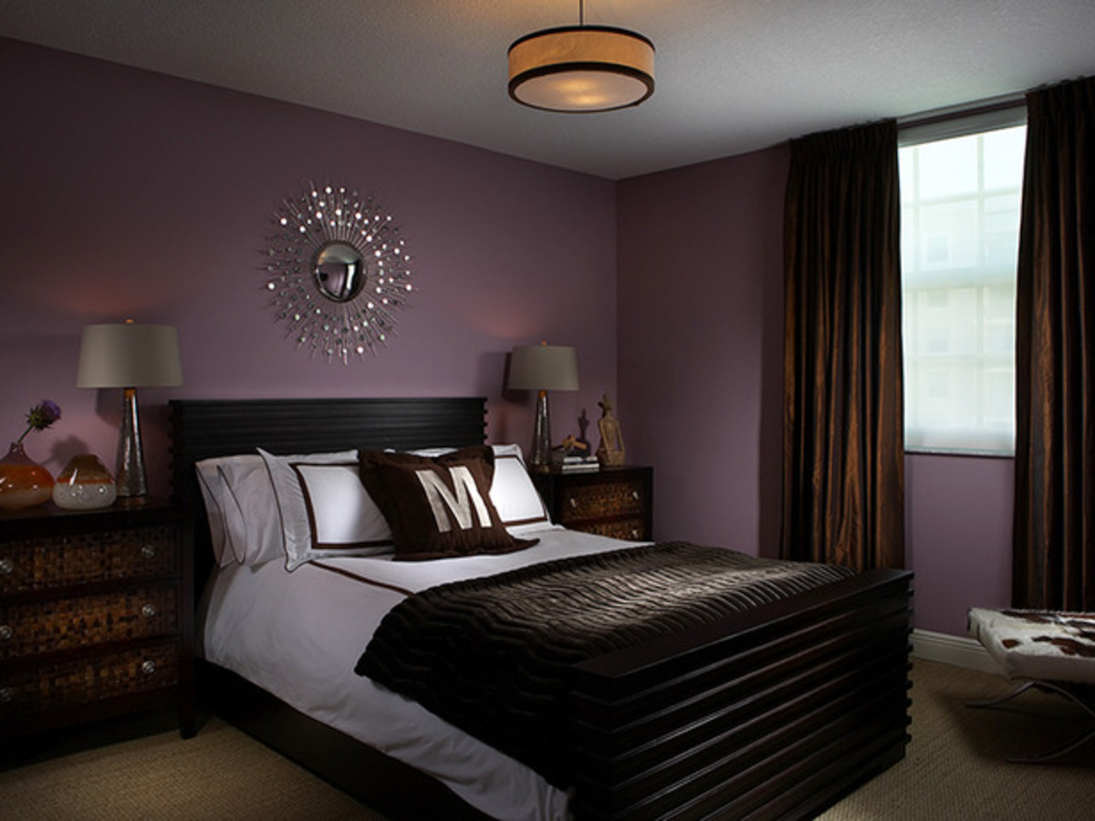 Purple and brown bedroom design