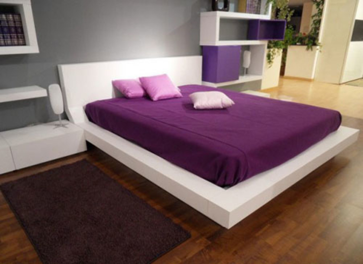 Modern minimalist purple bedroom design