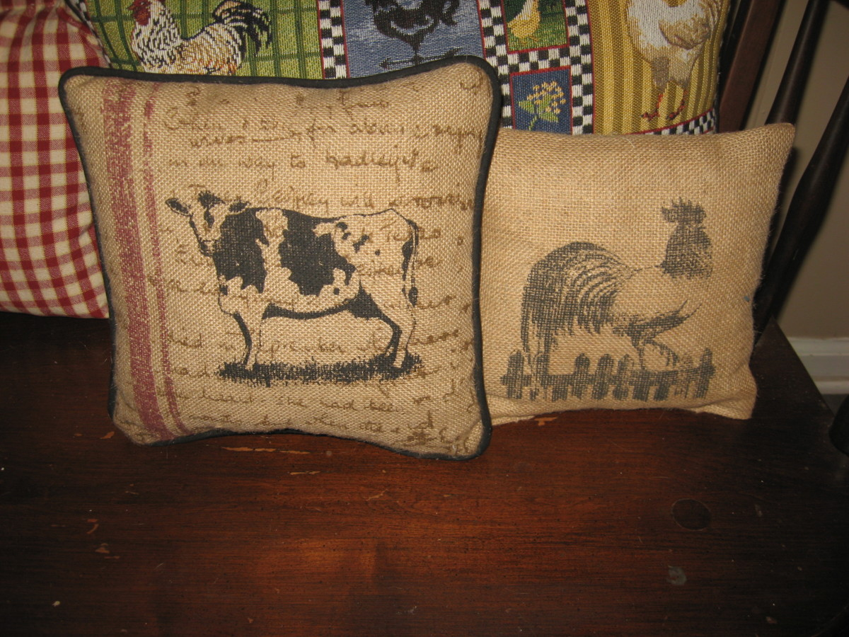 Small Burlap Pillows used as accents