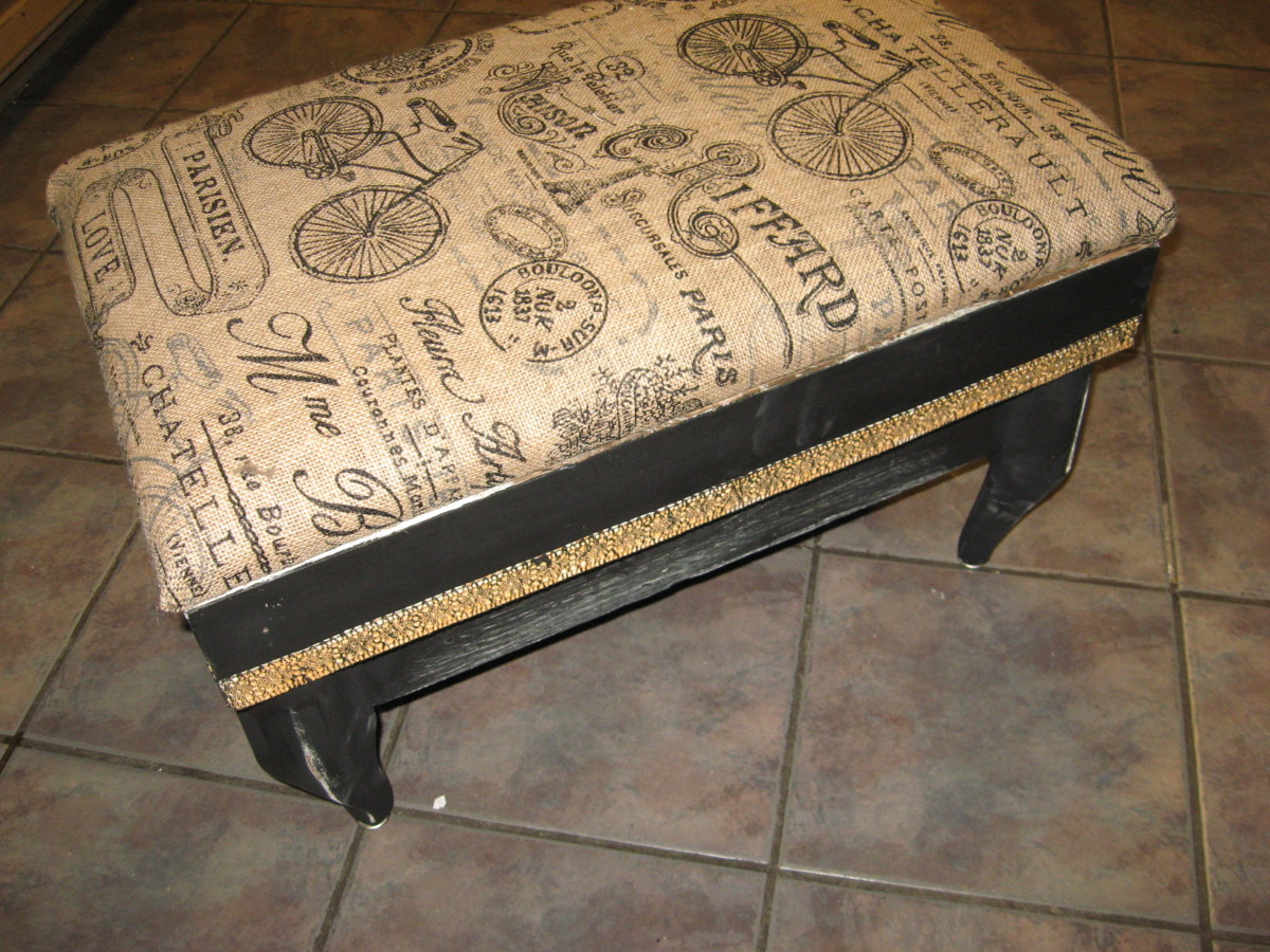 Burlap-Covered Ottoman