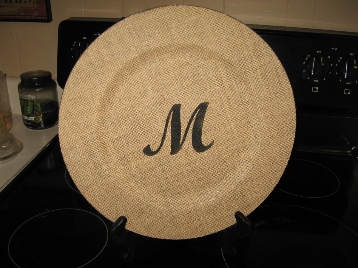Monogrammed Burlap Charger Plate