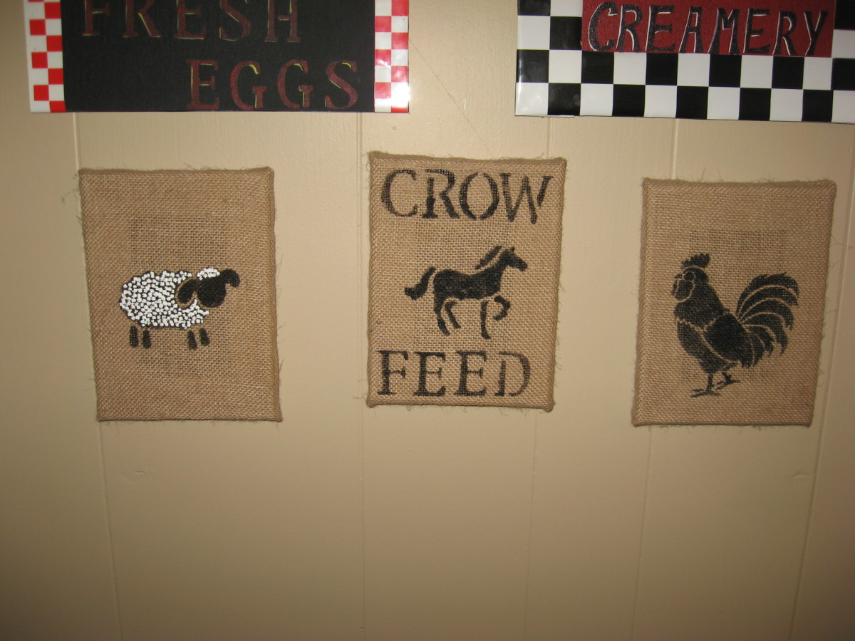 Paintings on stretched burlap canvases