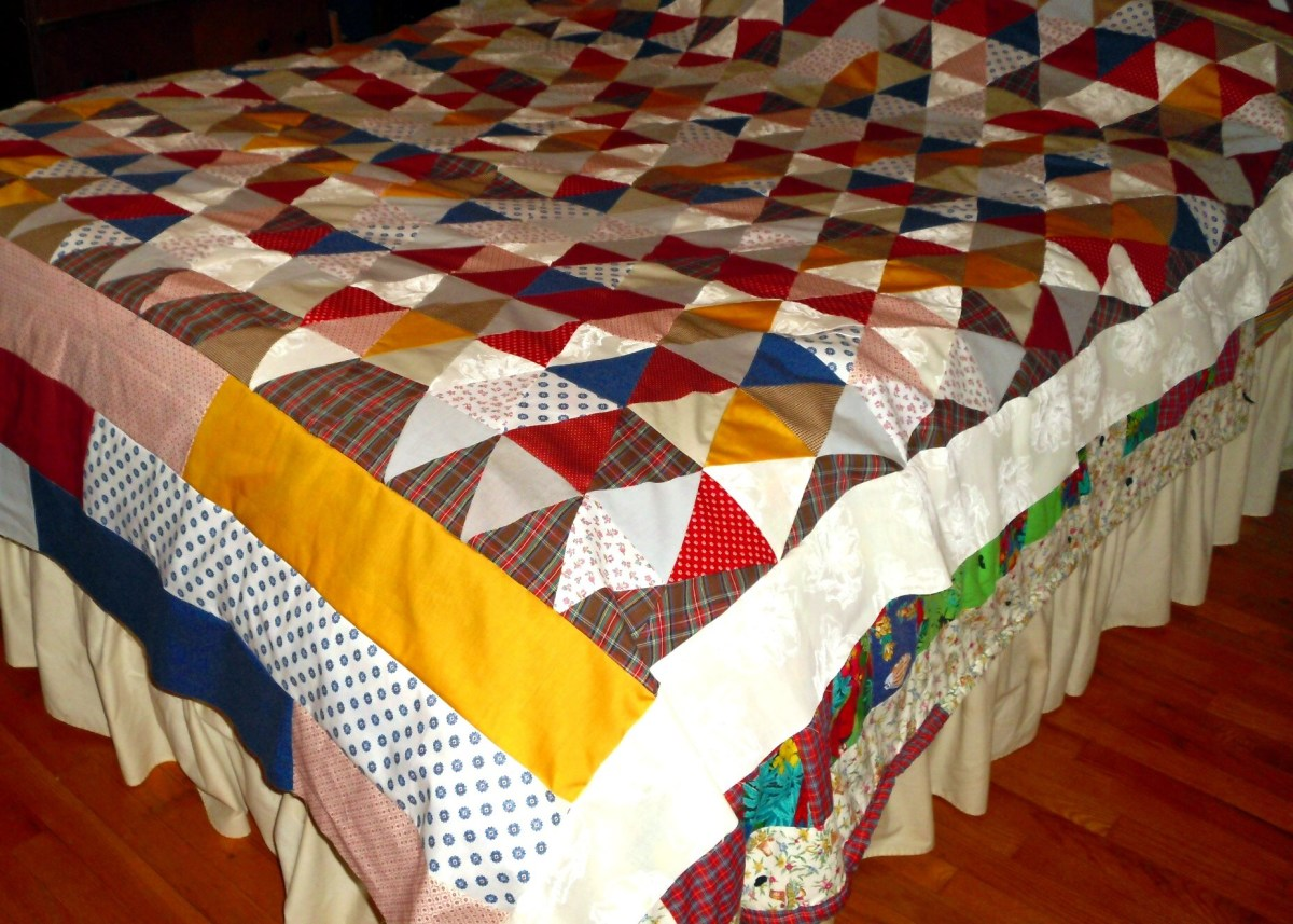 Patchwork bed quilt