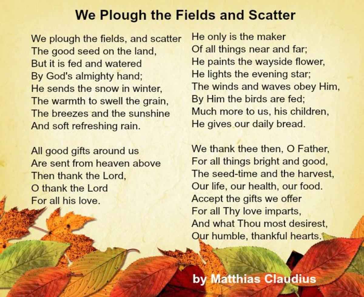 We Plough the Fields and Scatter Poem by Matthias Claudius