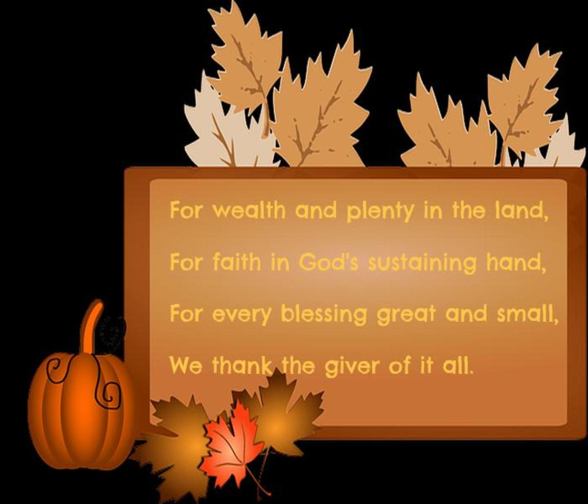 What We Are Thankful  For  Children's Poem