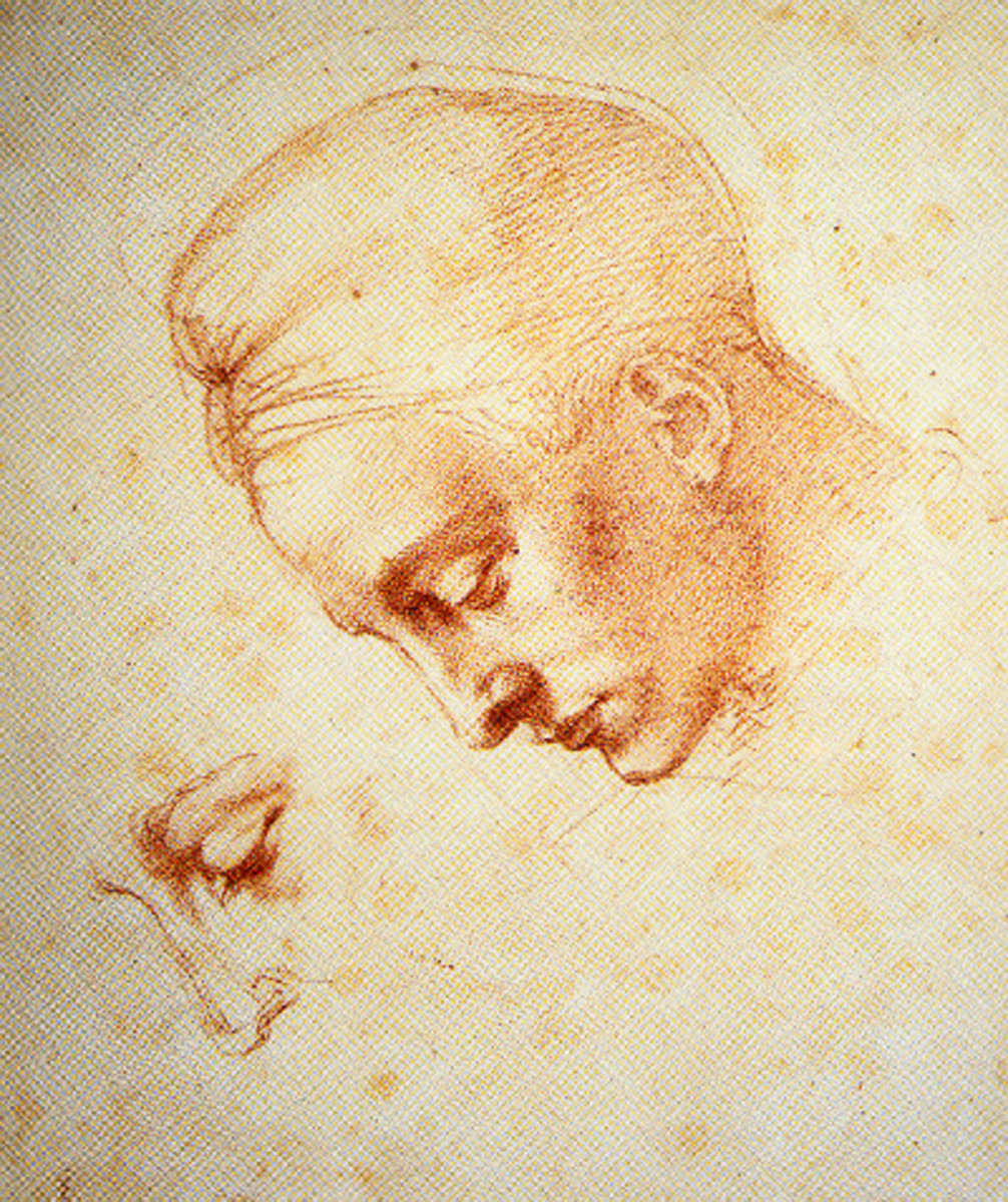 Michelangelo, Studies for Leda's Head (a. 1525), Florence Casa Buonarroti