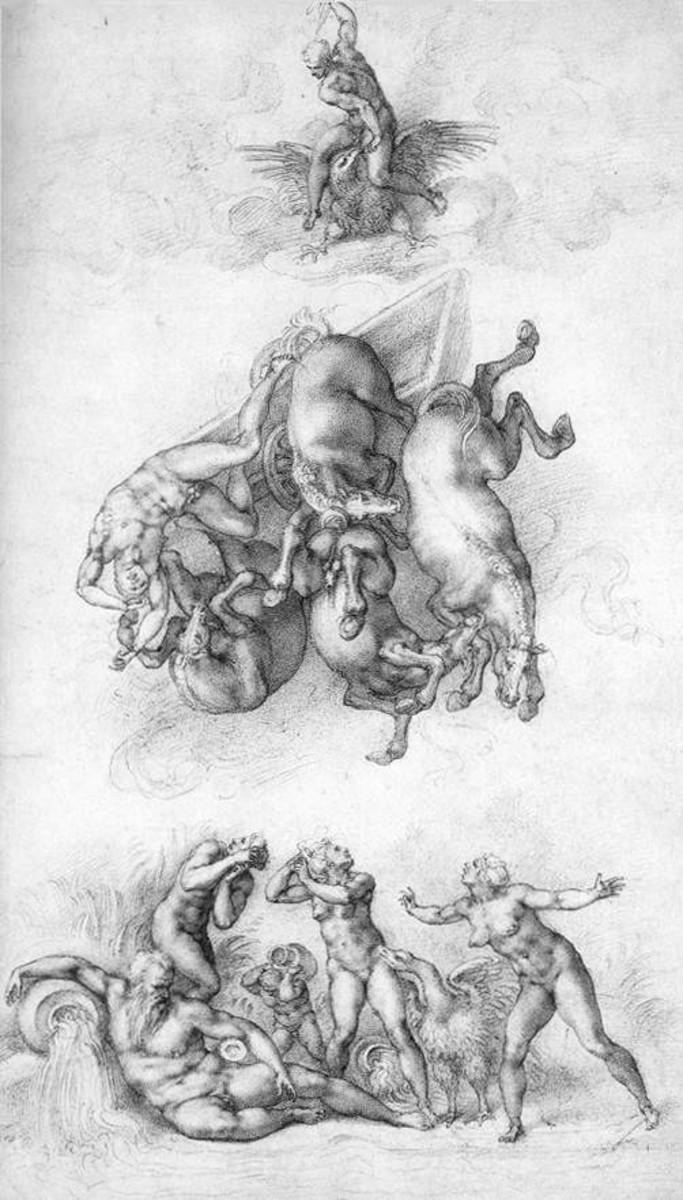 Michelangelo, Fall of Phaeton (1533), Windsor Royal Library