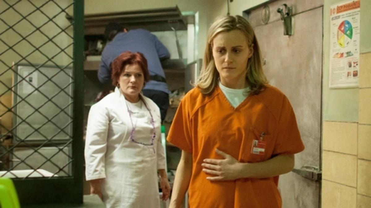 "Galina ""Red"" Reznikov (Kate Mulgrew) and Piper (Taylor Schilling)"