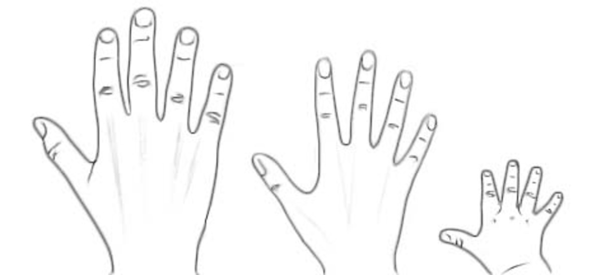 Left: Adult Male Hand; Center: Adult Female Hand; Right: Baby's Hand