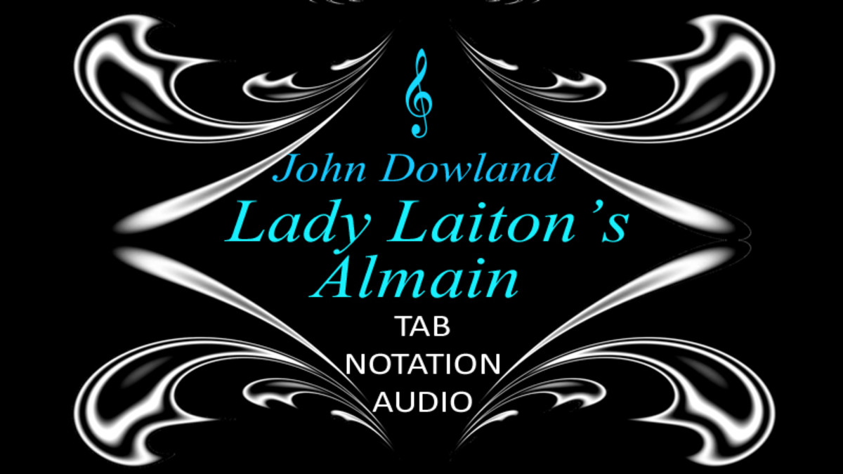 Lady Laiton's Almain by John Dowland with guitar tab and standard notation