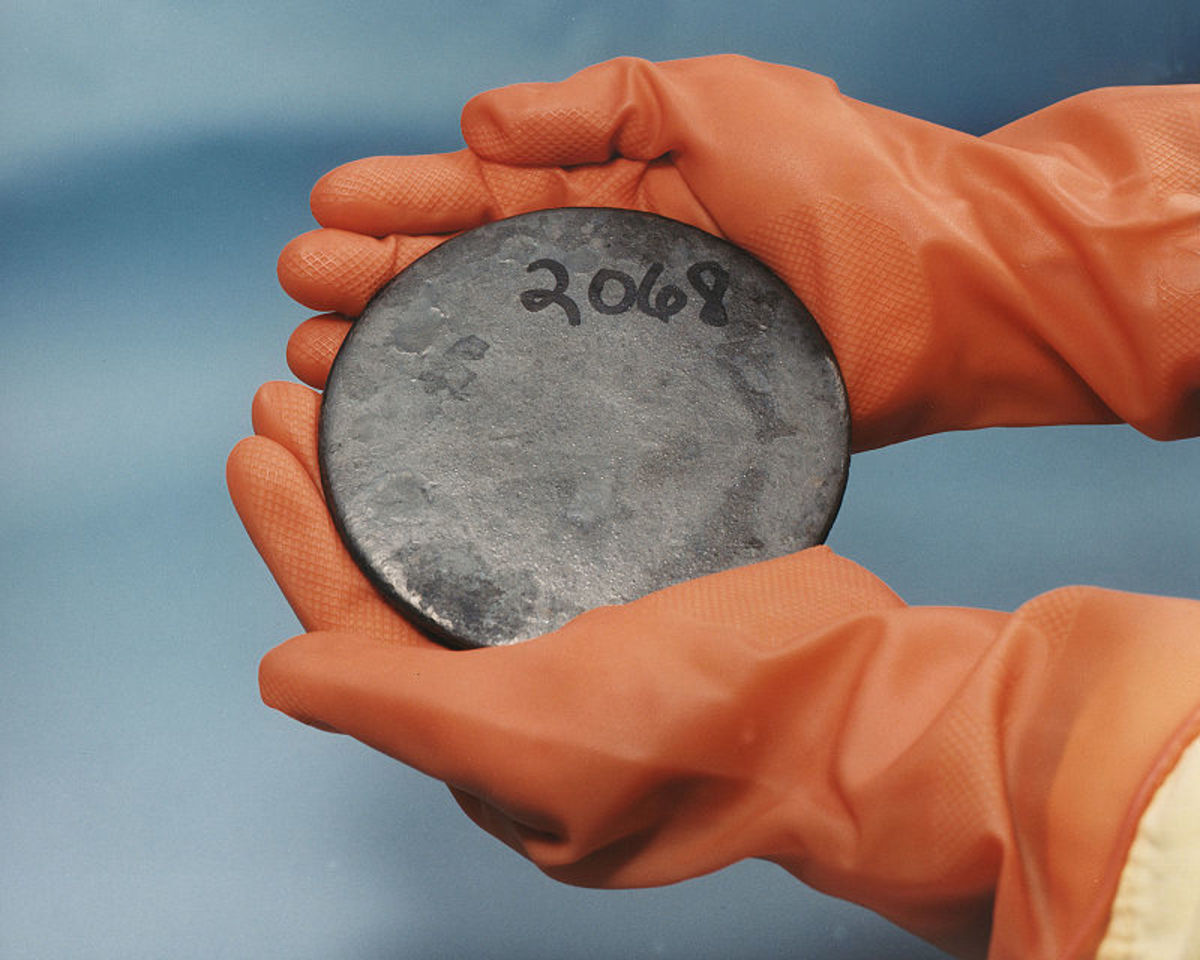 HEUraniumC, A billet of highly enriched uranium that was recovered from scrap processed at the Y-12 National Security Complex Plant. Original and unrotated.