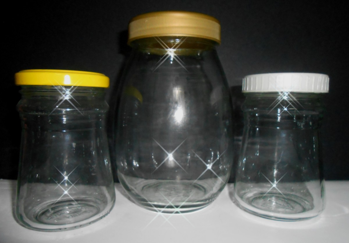 Recycled jars that have been washed clean and dried.