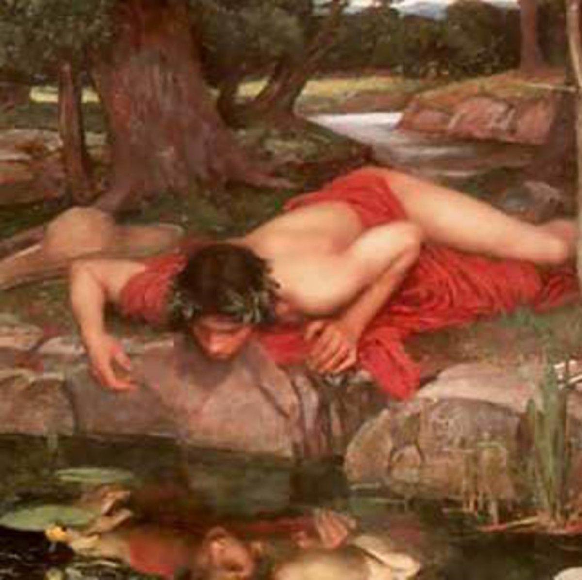 "source of the name: Greek mythology about a man who falls in love with his own image in the water, but dies when he realizes he can't have ""him."" It also turns out be a trick caused by one of the Greek goddesses."