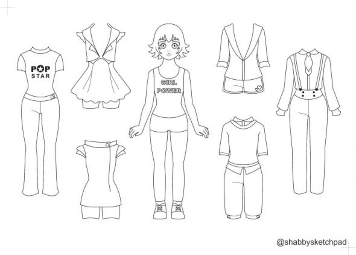 sporty paper doll coloring page