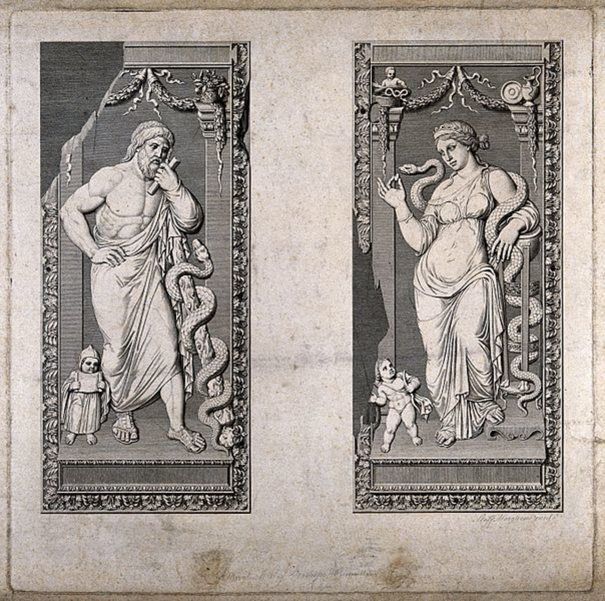 Aesculapius and Hygieia. Engraving by R. Morghen - Wellcome Images CC-BY-4.0