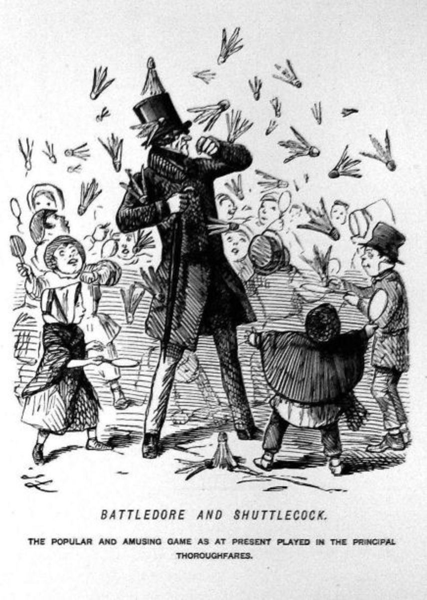 Cartoon showing early badminton game. Published 1854 from Punch magazine