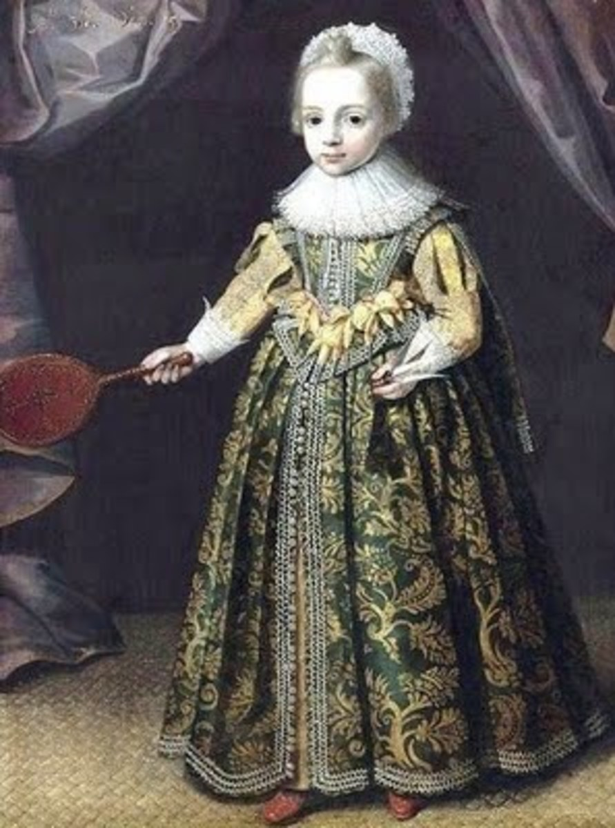 1621 painting of a 3 year old girl from Flanders holding a battledore and shuttlecock.