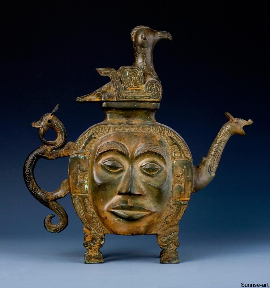 human face,Shang bronze
